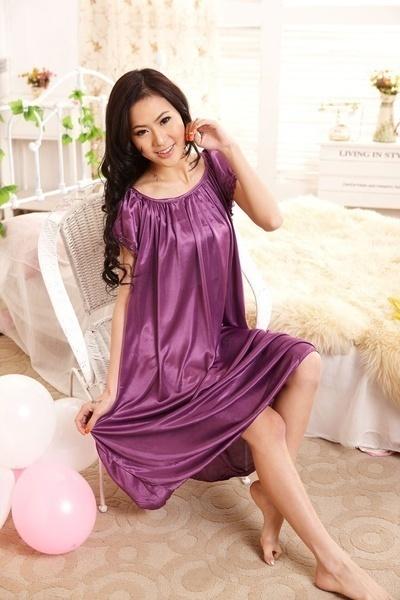 模擬ロングサテンの新しいスリップガウンのドレスパジャマのローブの女性のナイトライフの寝心地快適な夏のPa