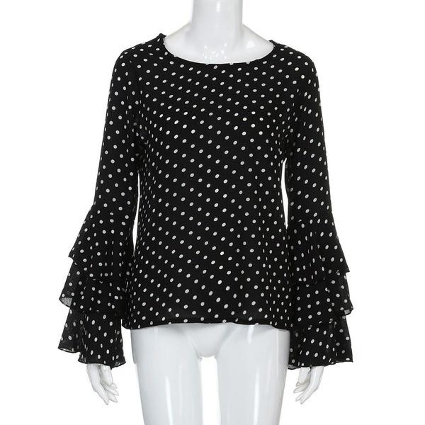 ファッション女性のベルスリーブルーズポルカドットシャツレディースカジュアルブラウストップス