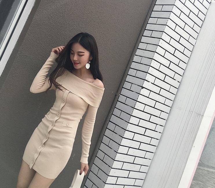 [55555SHOP]ニットワンピース◆ボートネック/美尻/カットソー★全3色