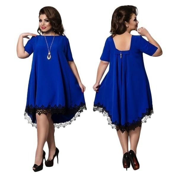 夏のバックレスラージサイズドレスプラスサイズ女性の服ルーズドレスショートスリーブレースドレス大きな
