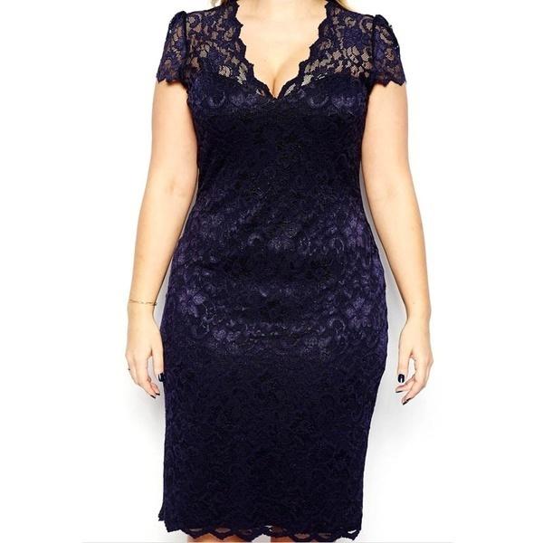 新しいファッション女性ミディドレスVネック花レースプラスサイズボディコン鉛筆ドレスダークブルー