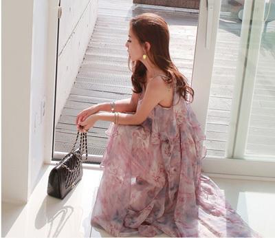 花柄ワンピース ロング丈 キャミソールワンピース ボヘミア風 レディース ウエストゴム ハワイ旅行 海辺 セクシー 涼しい 夏