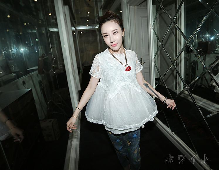 [55555SHOP]半袖Tシャツ レース 切替 無地 ホワイト
