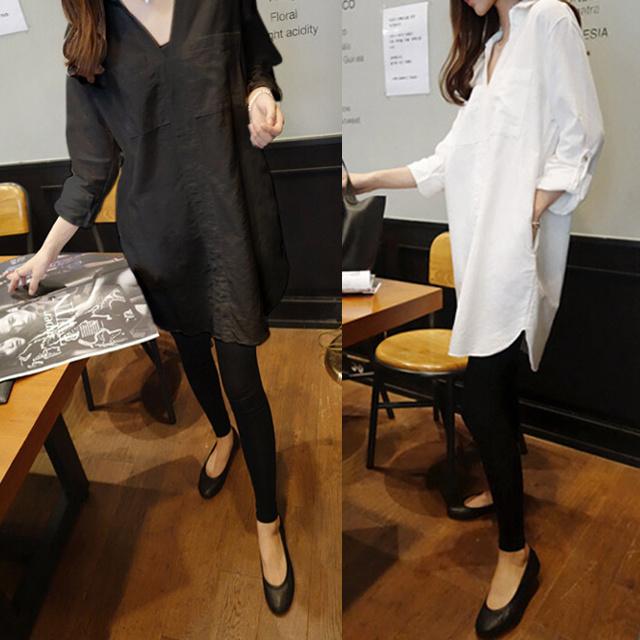 国内発送//[即納] ワンピース シャツワンピース ミニワンピース スキッパーシャツ チュニック チュニックワンピース シャツ HS 長袖 無地 新作韓国ファッション 韓国