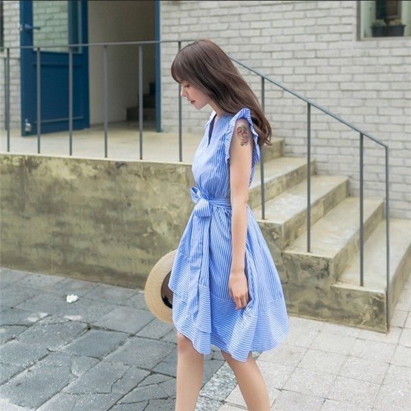 レディースワンピース 韓国無地 スリム ストライプワンピース V領麻綿 プリントワンピース  学院風 ハイセンス 着心地いい おしゃれ 夏 スリム セール★ レディースワンピース