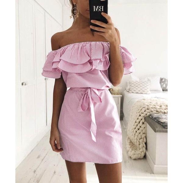 2017年の夏の女性のドレスの包帯肩のファルバラの短いドレス