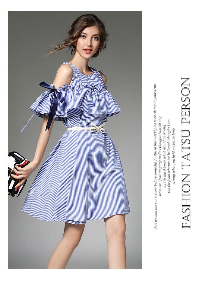 ストライプ柄 オフショルダーワンピース リボン オフショル 素敵な女性 大人の可愛い オフショルダー  チェック フリル 肩だし 可愛い カジュアル 韓国ファッション_aibo(アイボ)