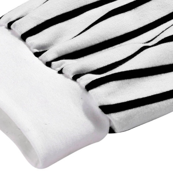 Zeagoo Womenファッションオネックロングスリーブストライプパッチワークスリムブラウストップス(サイズ:S、カラー:ホワイト)
