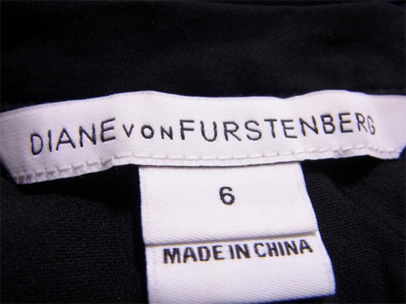 ダイアンフォンファステンバーグ DIANE von FURSTENBERG ワンピース ロールアップ袖 レディース ♯6サイズ クルーネック ウエストリボン ブラック シルク95%スパンデックス5%