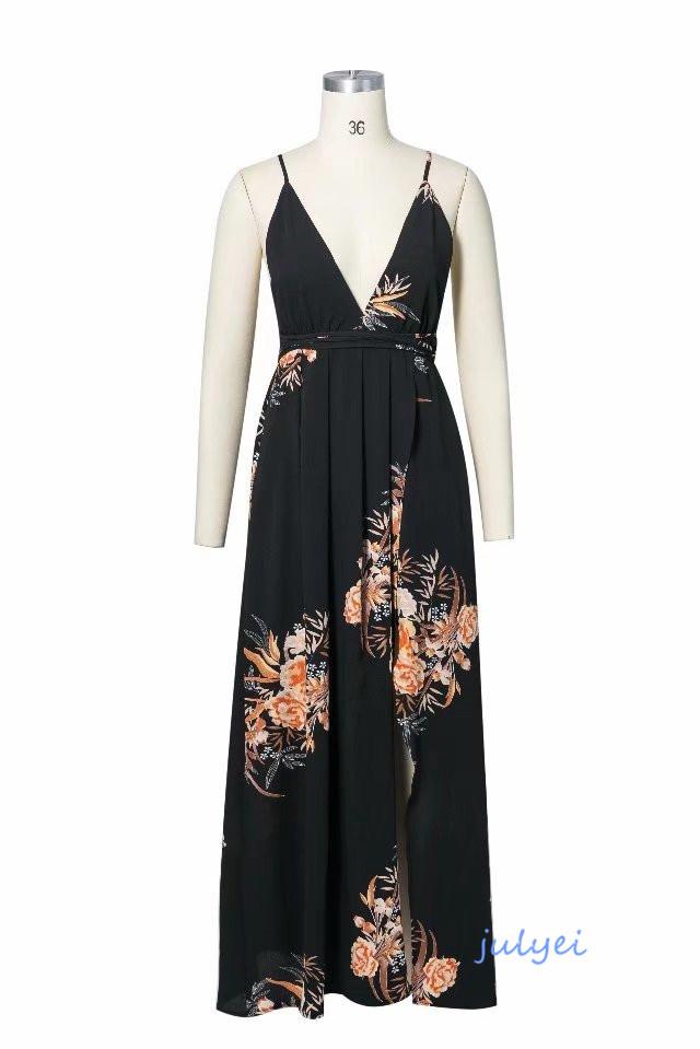 2018春新作 欧米風 花柄ワンピース 女性らしい Vネック  袖なし キャミワンピース ロングワンピース ゆったり カジュアル かわいい 着回し