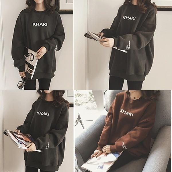 人気の緩い女の子のレジャーセーターランタンスリーブジャケットの文字の印刷短い段落のセーター