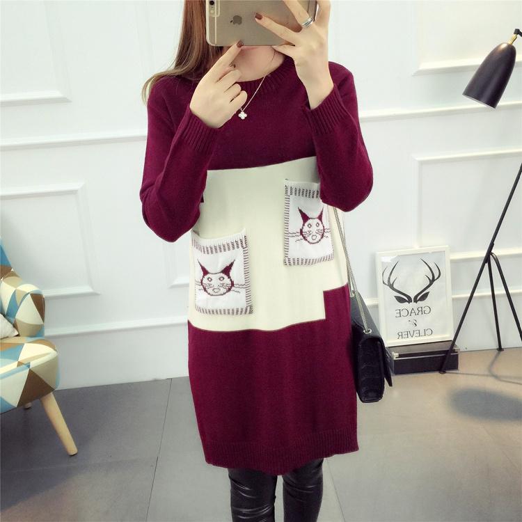レディース服 女性 ニットウェア ワンピース セーター お洒落 配色 ミドル ポケット 丸首 花柄 韓国ファッション
