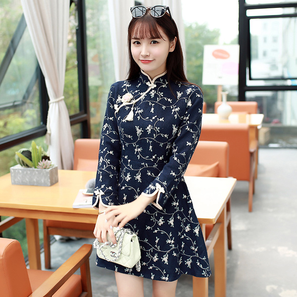 レディースワンピース ドレス長袖のウールワンピース花柄刺繍チャイナドレス大きいサイズ 小さいサイズ秋冬