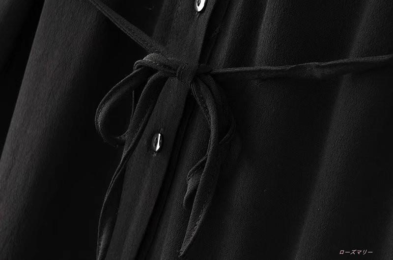 【ローズマリー】秋服新品カジュアルベルト腰開襟シャツワンピース長袖大露背係でロングスカート ワンピース ベーシック 大人気 -QQ1570