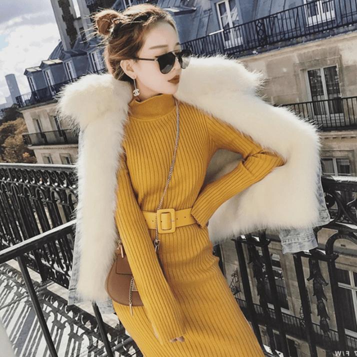 秋冬♥高品質♥韓国ファッション♥♥ワンピース、上品♫セクシー♡ガーリー二点セットロングスカート长袖ワンピースニット無地レディースセットアップ着回しできる