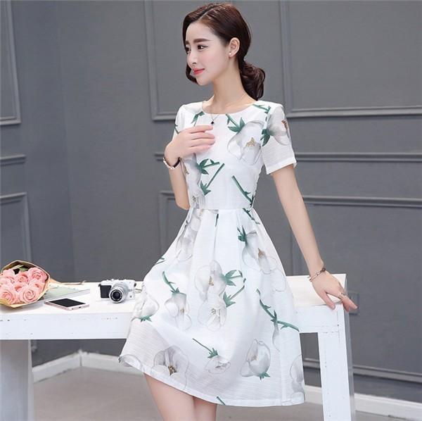 レディースワンピース 韓国無地 スリム 韓国のファッション  ロングスカート 丸首半袖ワンピース  プリントワンピース  ハイセンス 着心地いい おしゃれ 夏 スリム セール★ レディースワンピース