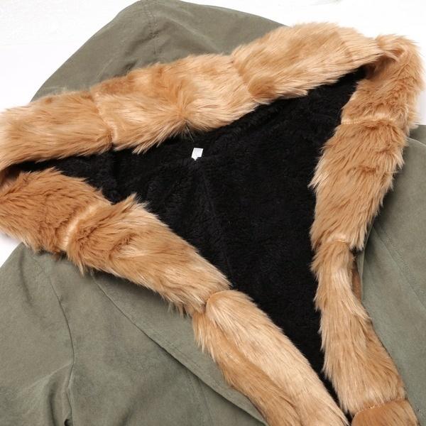 女性レディースウィンターロングウォームシックパーカーフェイクファージャケットフード付きコート2016 KECP