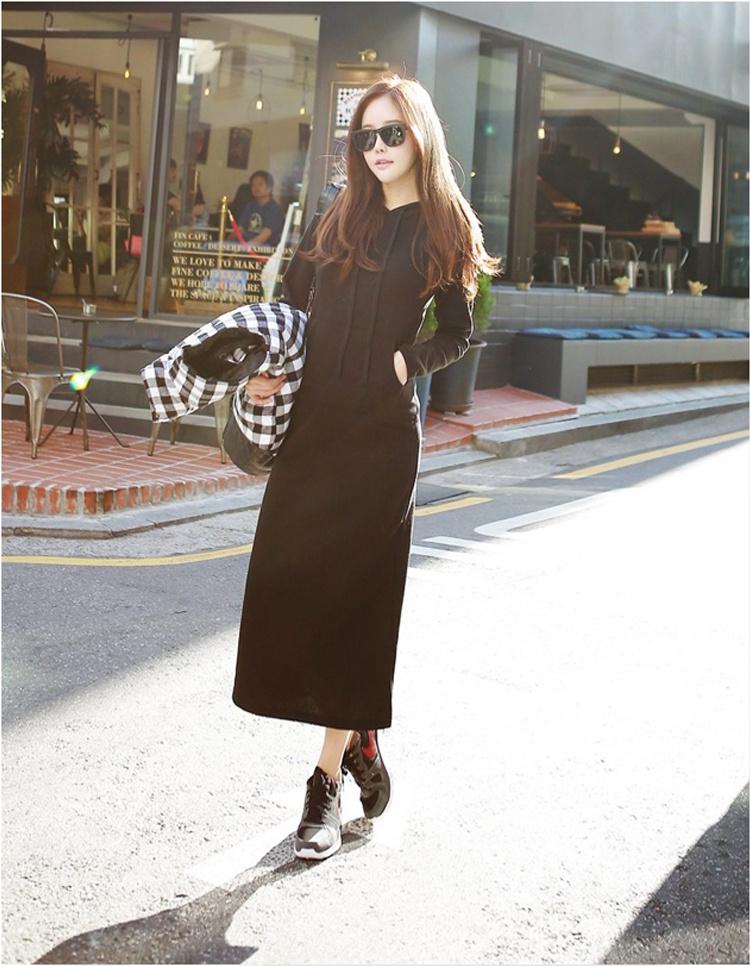 【B316】[送料無料]★韓国ファッションロムゴフードロングワンピース/ おしゃれなシルエットのファッションコーデー提案!ハイクォリティー/韓国ファッション/オフ