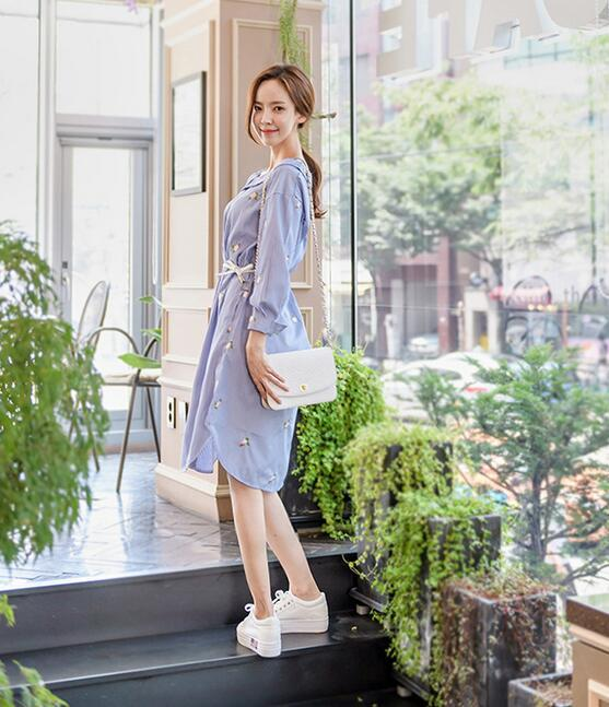 レディース ワンピース 新作 刺繍 ミドル ストライプ 森ガール 超人気 ドレス