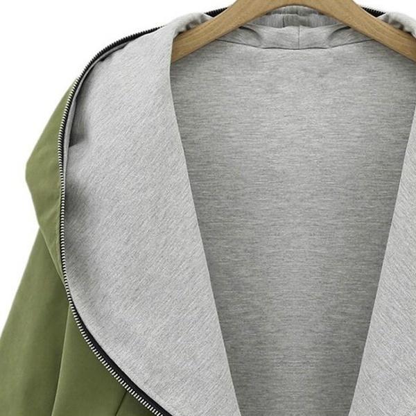 女性オーバーサイズジッパーフード付きジャケットコート春冬パーカカーディガンパーカスアウトウェア