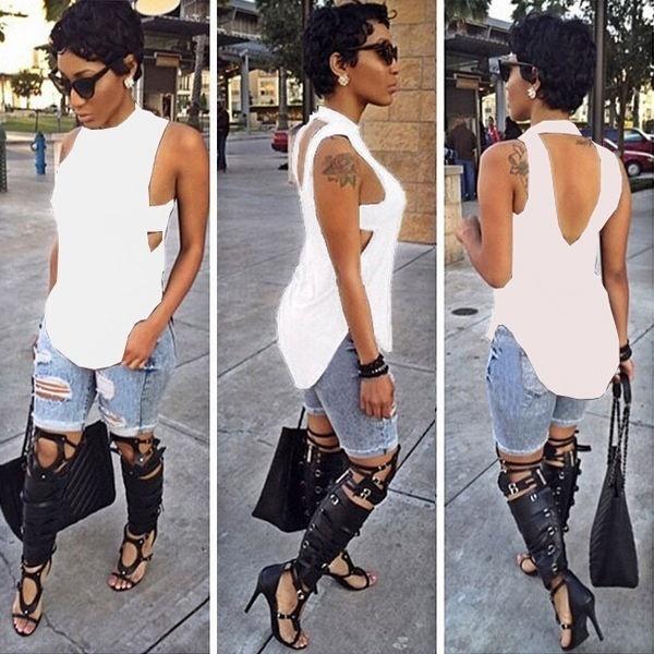 ファッション女性の夏のベストトップノースリーブブラウスカジュアルタンクトップTシャツNEW