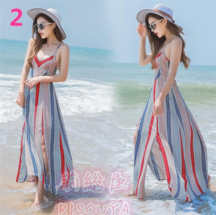 夏新品入荷 レディースワンピース 海浜リゾート風 可愛 ボヘミア風マキシワンピース 結婚式 パーティー ドレス