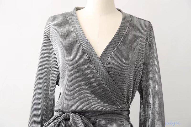 欧米風 レディース 金属色 Vネック 長袖 着やせ ロングワンピース 無地 2018春新品 気品と高級感