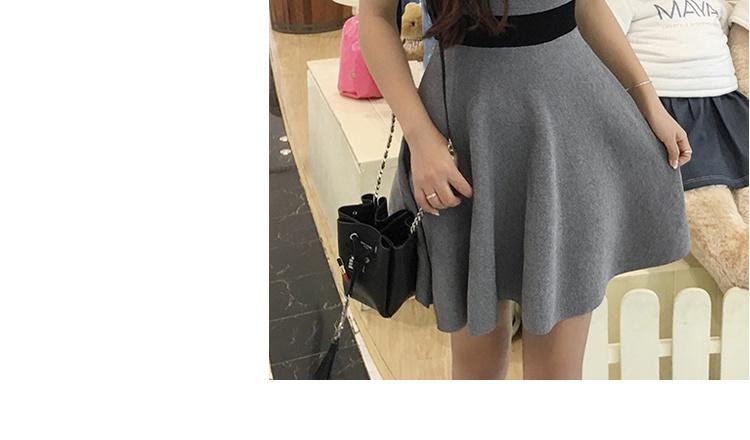 [55555SHOP]ワンピース セクシー Vネック バイカラー 腰と2017年夏の新色快適なファッション 韓国ファッション/ワンピース/花柄ワンピース