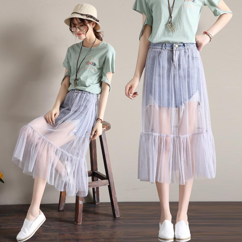 メッシュパッチワークデニムスカート半身スカート2017新型夏服にジーンズワンピーススカート