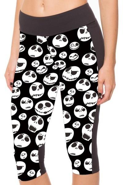 S  -  XXXXLファッション新しい女性の7ポイントのズボンの女性のレギンススマイリー顔スカルデジタルプリント女性は高い