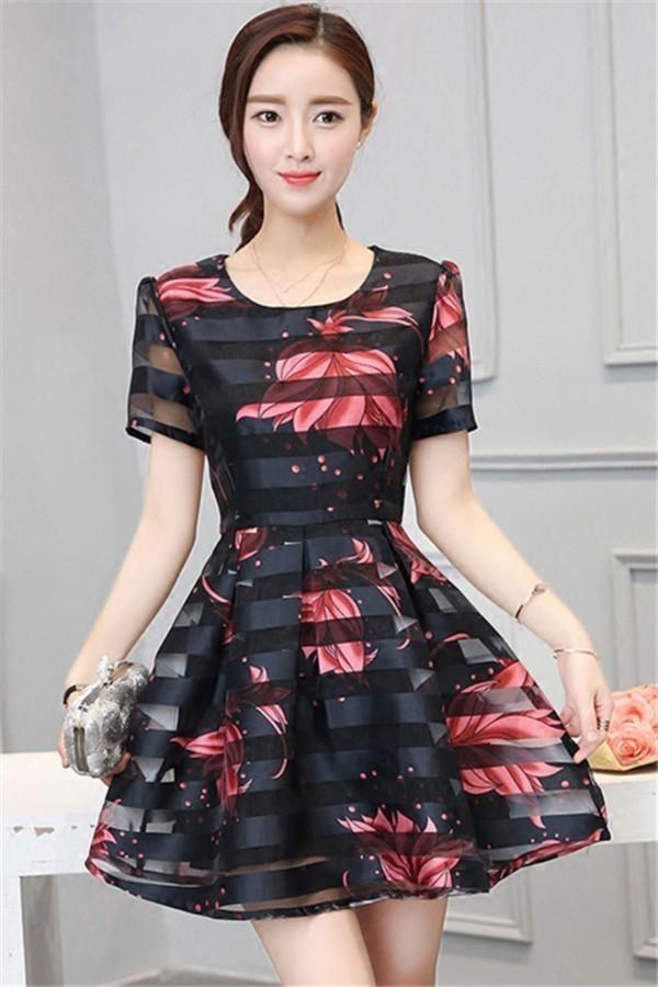 レディースワンピース 韓国無地 スリム 韓国のファッション  丸首ワンピース 上品 ロングスカート  ハイウエストワンピース  プリントワンピース  ハイセンス 着心地いい おしゃれ 夏 スリム セー