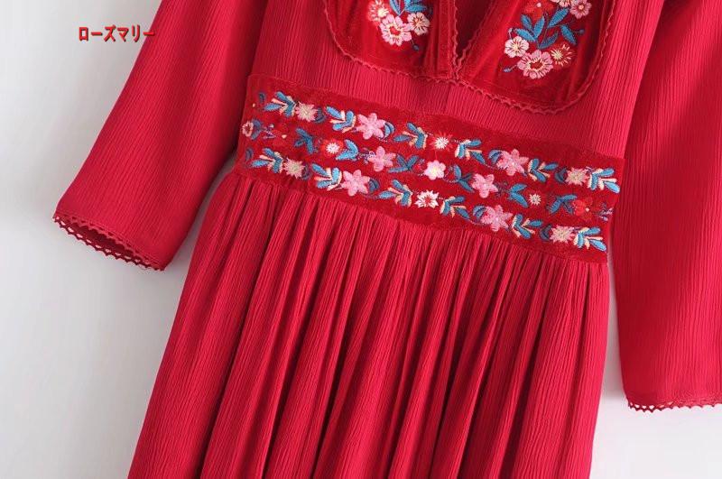 【ローズマリー】七分袖刺繍深いVネックでロングスカート018春モデルハイウエスト縮ひだスリット入りワンピース ロングワンピース マキシワンピ ビーチワンピース 大人気-R252