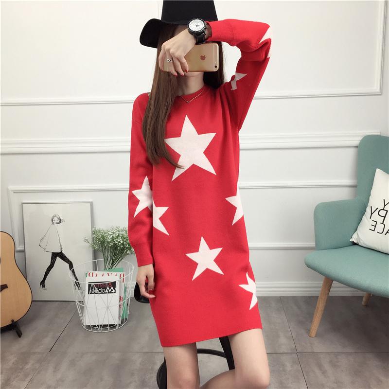 レディース ニットウェア ワンピース セーター お洒落 配色 ミドル ポケット 丸首 花柄 女性 韓国風 ファッション