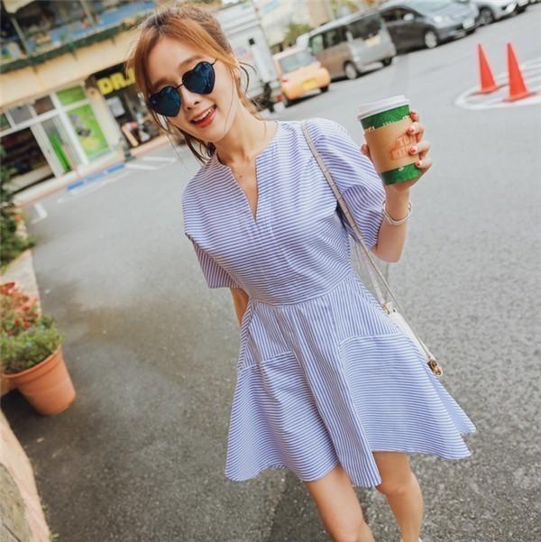 レディースワンピース 韓国無地 スリム V領 ストライプワンピース プリントワンピース  学院風 ハイセンス 着心地いい おしゃれ 夏 スリム セール★ レディースワンピース