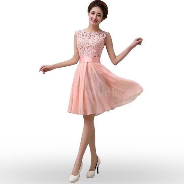新しいファッション女性の夏シフォンレースドレスノースリーブOネックソリッドカラーエレガントなプリンセスパーティードレ