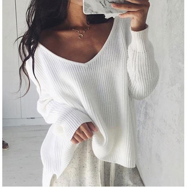 レディースホワイトブラウスセーター不規則なニット長袖セーターガール