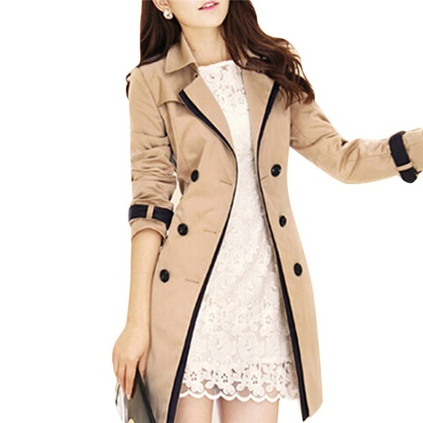 女性の秋のオーバーコートロングコートロングスリーブファッションターンダウンの襟のアウトウェアSMO