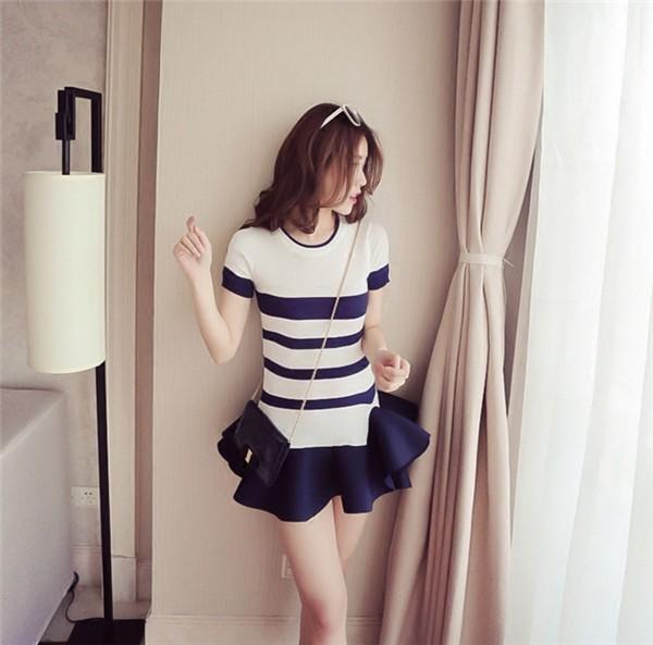 レディースワンピース 韓国無地 スリム 韓国のファッション 上品  学院?  ストライプワンピース ハイセンス 着心地いい おしゃれ 夏 スリム セール★ レディースワンピース