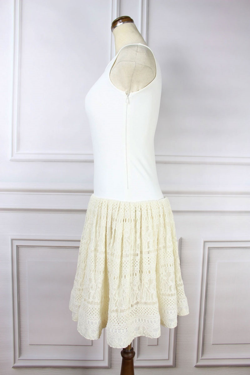 RIMI&Co.ふんわりスカートが大人可愛い上品レースがエレガント 美人ワンピースストレッチニットで着やせ効果も!お呼ばれサマーニットドレス