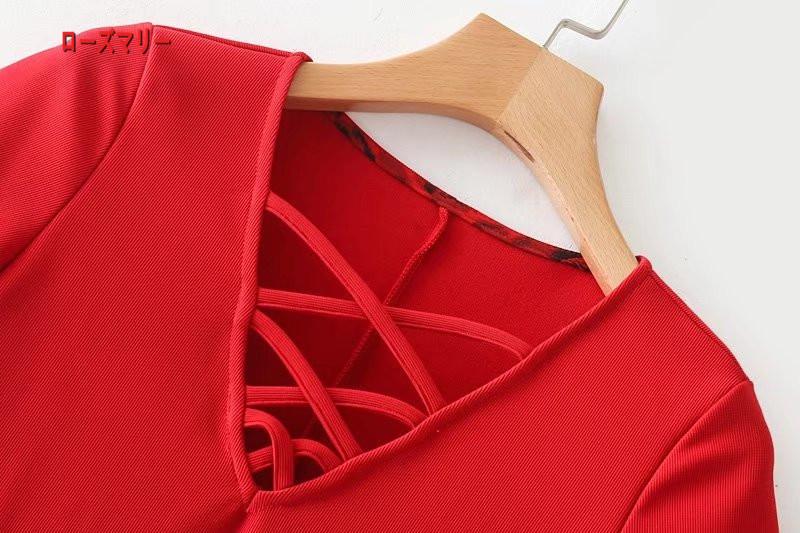 【ローズマリー】欧米風の女装さん交差のVネック修身着やせワンピーススカート フィットスタイル ワンピース ヴィンテージ調 -QQ5944