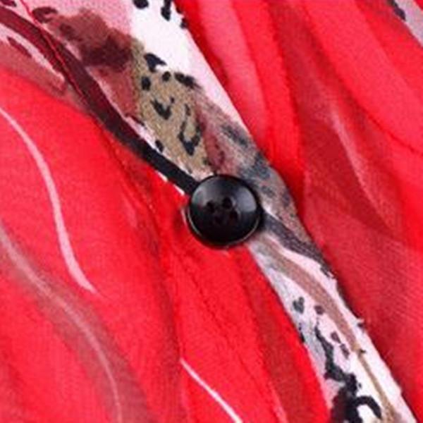 ワンピース チュニック ひざ丈 五分袖 ヘンリーネック シフォン プリント総柄 5分袖 フレア ミドル丈ワンピース レッド 鮮やか パーティー 情熱的 二次会 2017