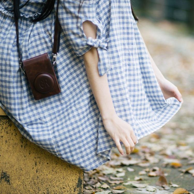 袖口にキュッとリボン結びがカワイイ。ワンピース ミディアム チェック柄ワンピース レディースワンピース 五分袖 チェックワンピ ゆるかわ 体型カバー
