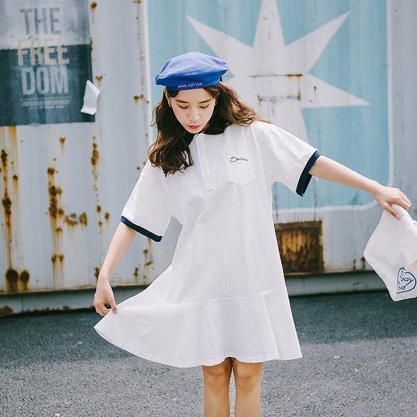 レディース ポロシャツ ワンピース フレア 半袖 スカート カジュアル キュート 可愛い フェミニン セクシー きれいめ 上品 エレガント おしゃれ お出かけ お呼ばれ ホワイト 白色 フリーサイズ