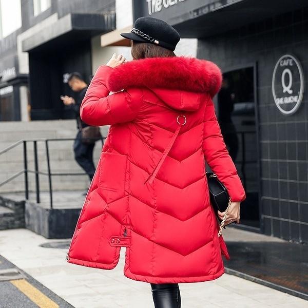 2017女性の冬の毛皮の首輪フード付きダウンコートコットンコットンパッド入りロングジャケットカジュアルシンプルなスタイル