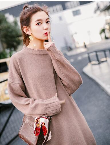 ベルト付き ケーブル編み ニット セーター ワンピ 大人気
