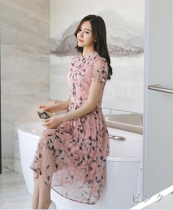 [55555SHOP]半袖ワンピース プリント リボン付き フレア ピンク