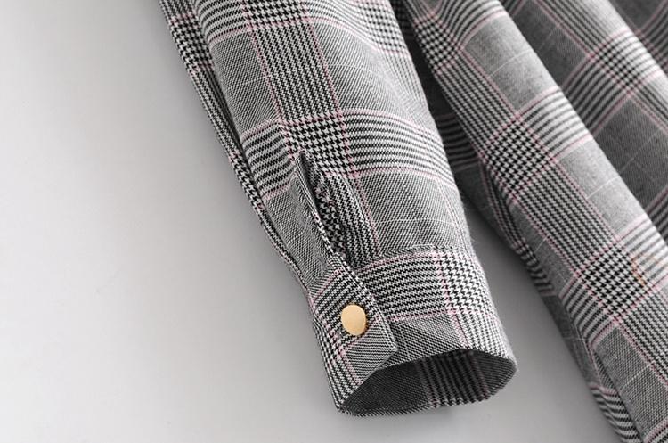 2018春服の新作、韓国スタイル、コーディネート自在、スリム、折り襟、長袖、チドリ柄、ベルトのワンピース
