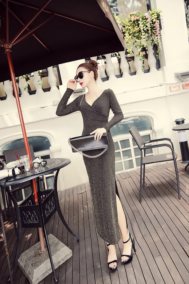 [55555SHOP]]★韓国ファッション通販業界1位 ★アルリオひらきロングワンピース / おしゃれなシルエットのファッションコーデー提案!