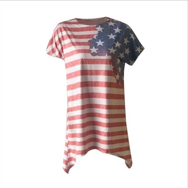 2017 Women 4th of July TシャツAmerican Flag ShirtバギースターズストライプブラウスシャツS-3XL