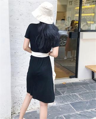夏服 新しいデザイン 韓国風 気質 シンプル 着やせ Vネック 単一色 ロングTシャツ